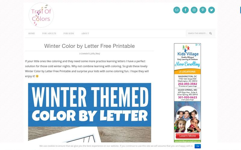 Winter Color by Letter Free Printable - Trail Of Colors